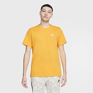 Nike T Shirt Print Herren Schwarz Gelb Orange Hellblau M