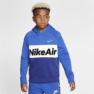 Bleu Sweats à capuche et sweat shirts. Nike LU