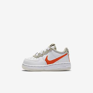 Boys White Air Force 1 Low Top Shoes.
