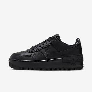 Women's Black Air Force 1 Shoes.