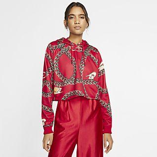 Damen Rot Hoodies & Sweatshirts. Nike LU