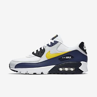 Shop Nike Air Max 90 Essential WhiteSilver Dark Grey 537384
