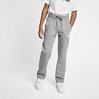 Nike Girls Kids Tech Fleece Pants Cuffed Joggers Sweatpants GREY 890257-091 S