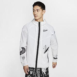 chaqueta de running hombre blanco