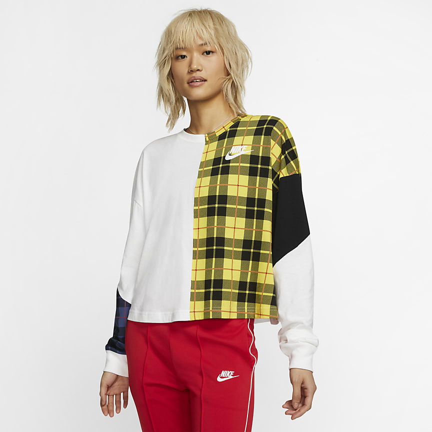 Women's Long-Sleeve Checked Top