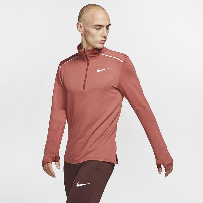 Мужская беговая футболка с молнией на половину длины