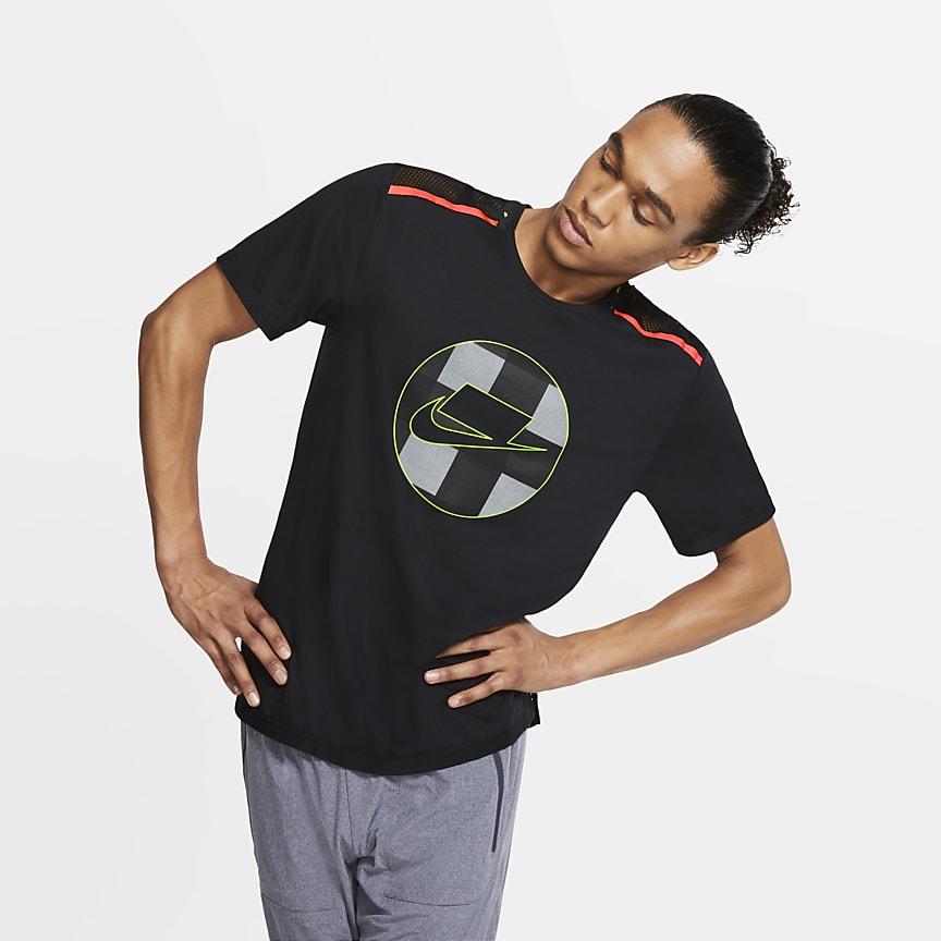Мужская беговая футболка из сетчатой ткани с коротким рукавом