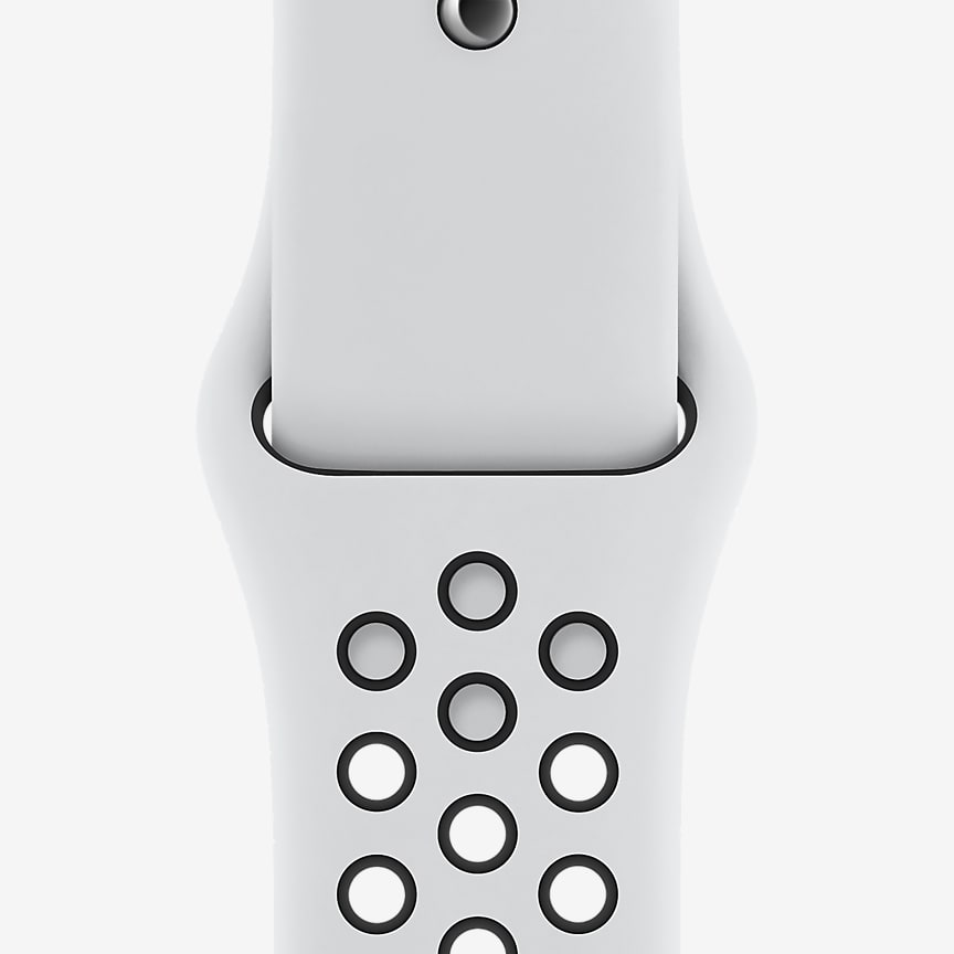 44mm Pure Platinum/Black Sport Band
