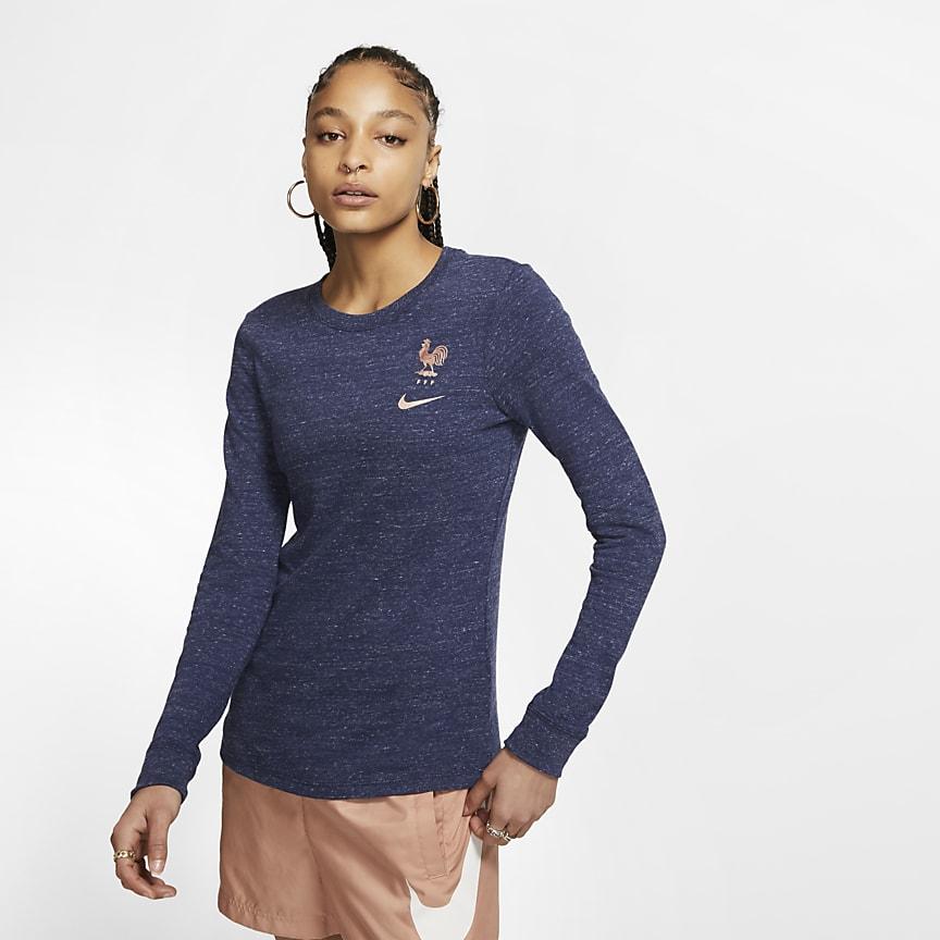Langærmet fodbold-T-shirt til kvinder