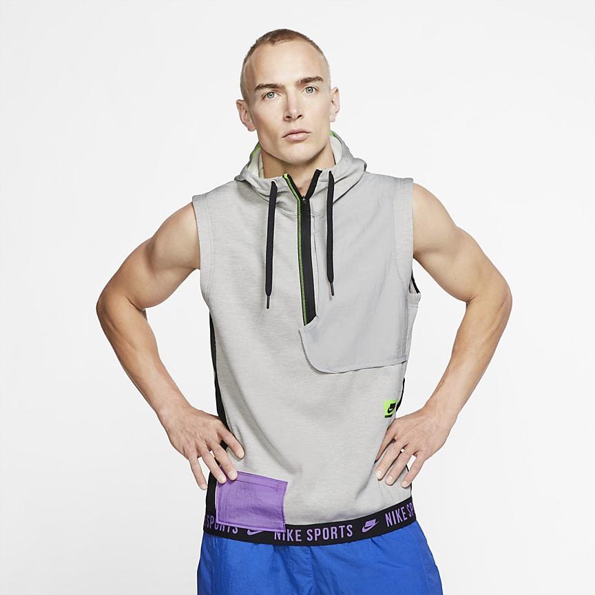 Top de entrenamiento con capucha sin mangas para hombre