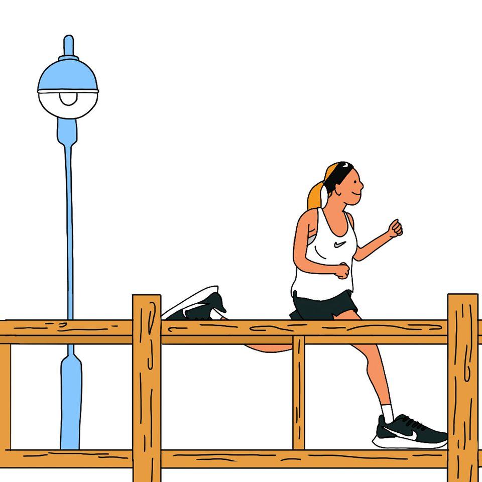 在木板路上进行长距离跑