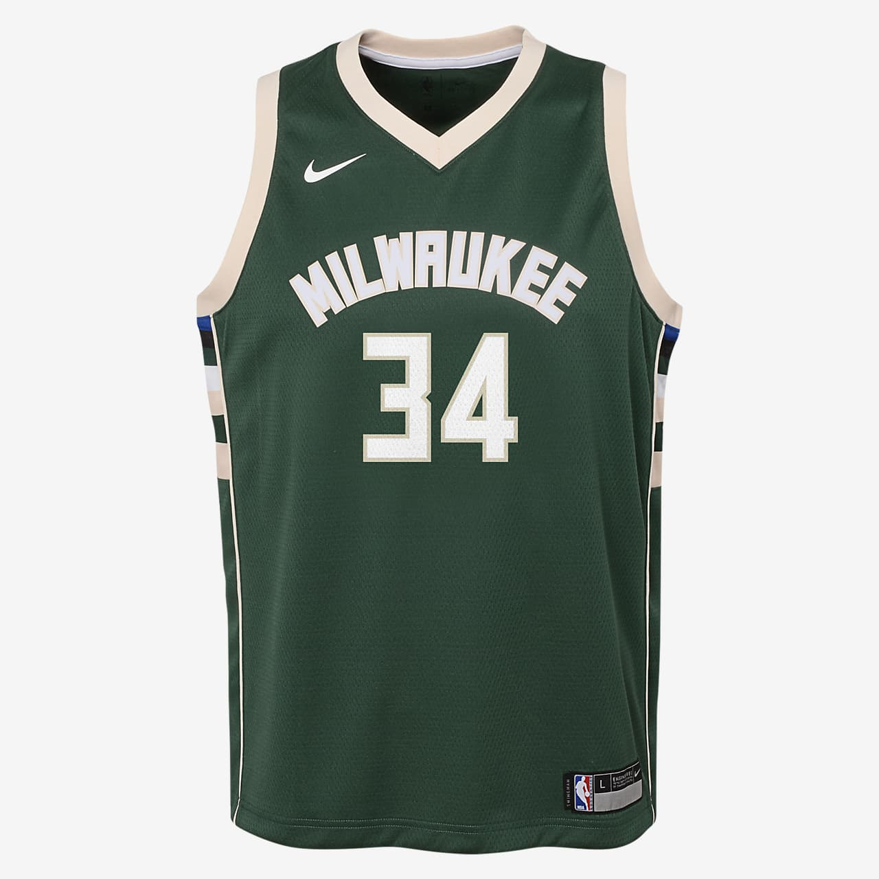 Giannis Antetokounmpo Milwaukee Bucks Nike Icon Edition Swingman NBA-jersey voor kids