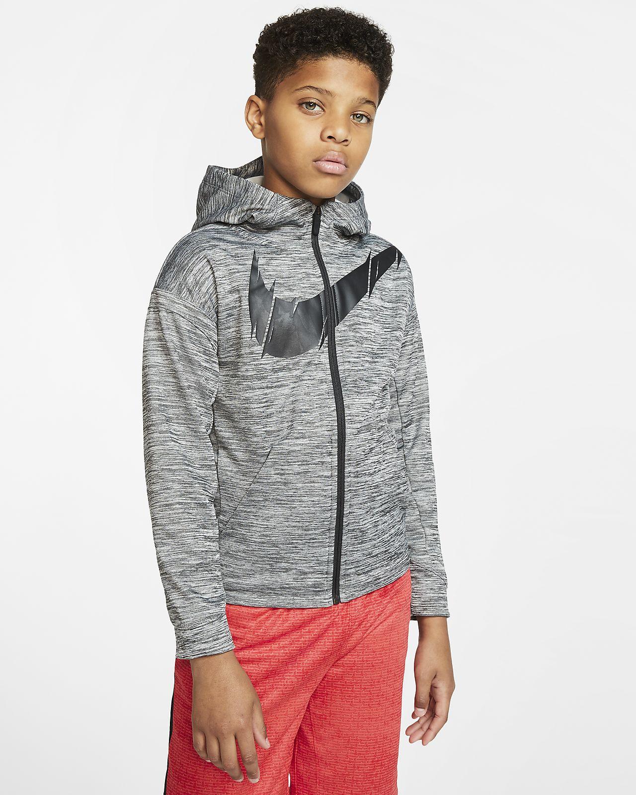 Nike Therma hosszú cipzáras kapucnis edzőpulóver nagyobb gyerekeknek (fiúknak)
