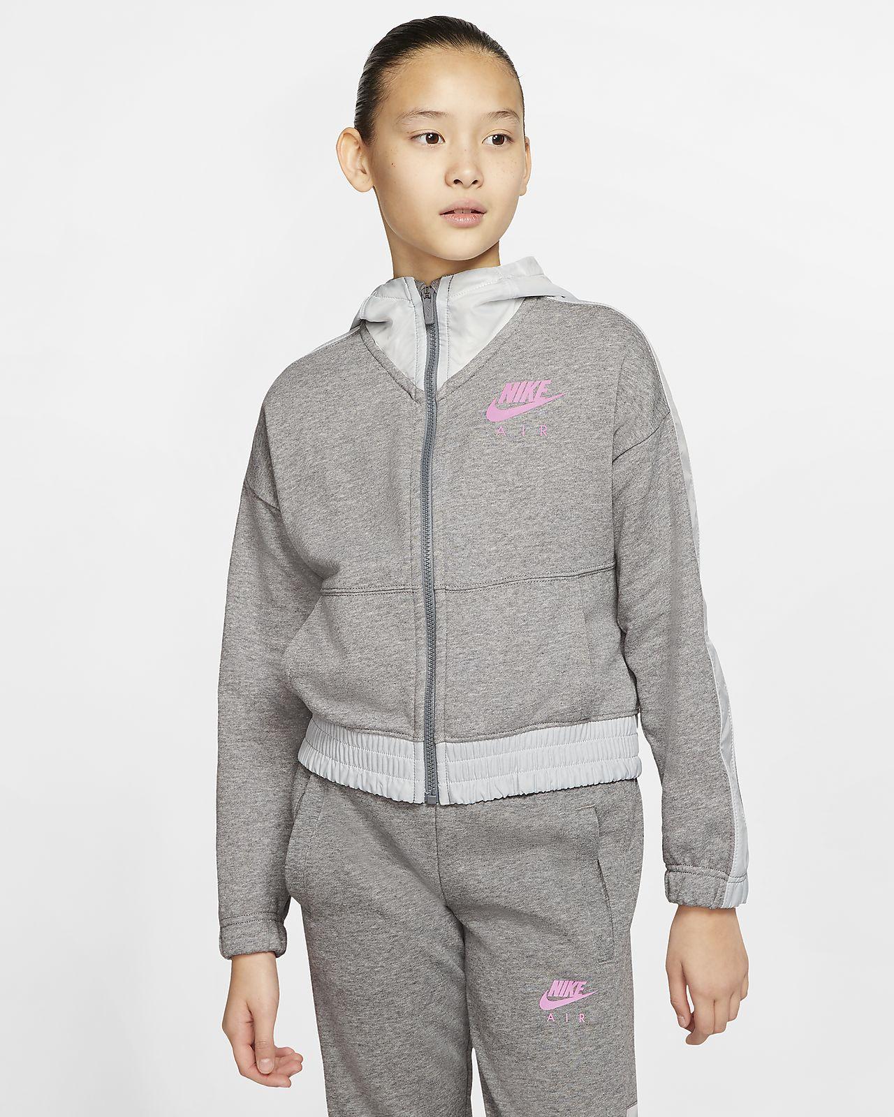 Bluza z kapturem i zamkiem na całej długości dla dużych dzieci (dziewcząt) Nike Air