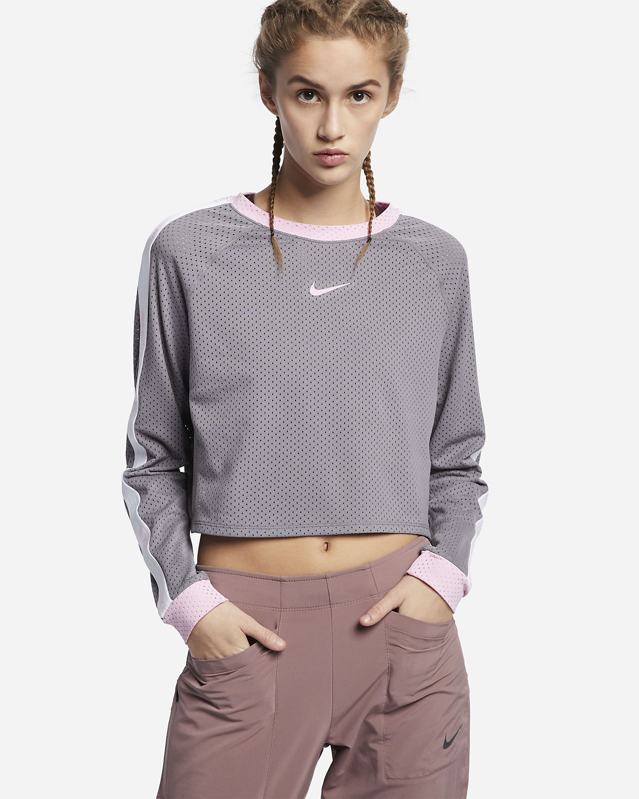 Nike Women's Floral Cropped Running Top