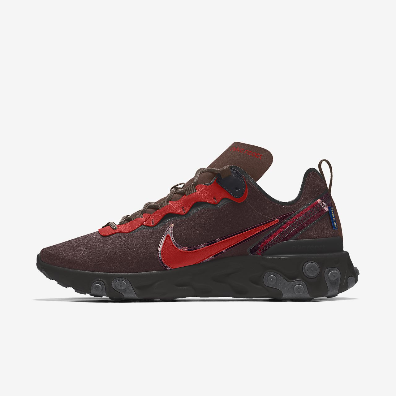 Specialdesignad sko Nike React Element 55 Pendleton By You för män