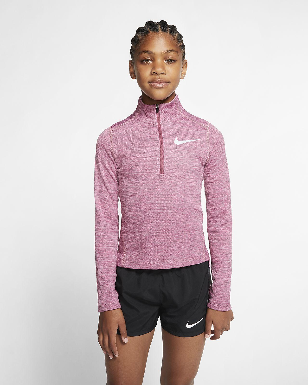 Långärmad löpartröja Nike med halv dragkedja för ungdom (tjejer)