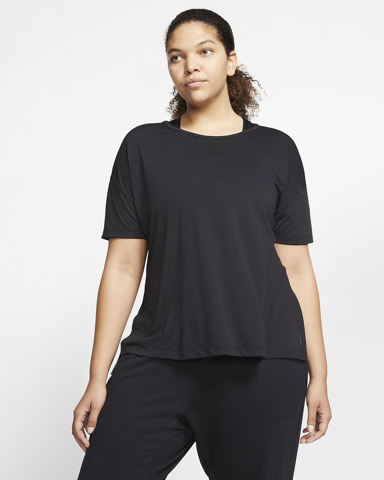 Camisola de manga curta Nike Yoga para mulher (tamanhos grandes)