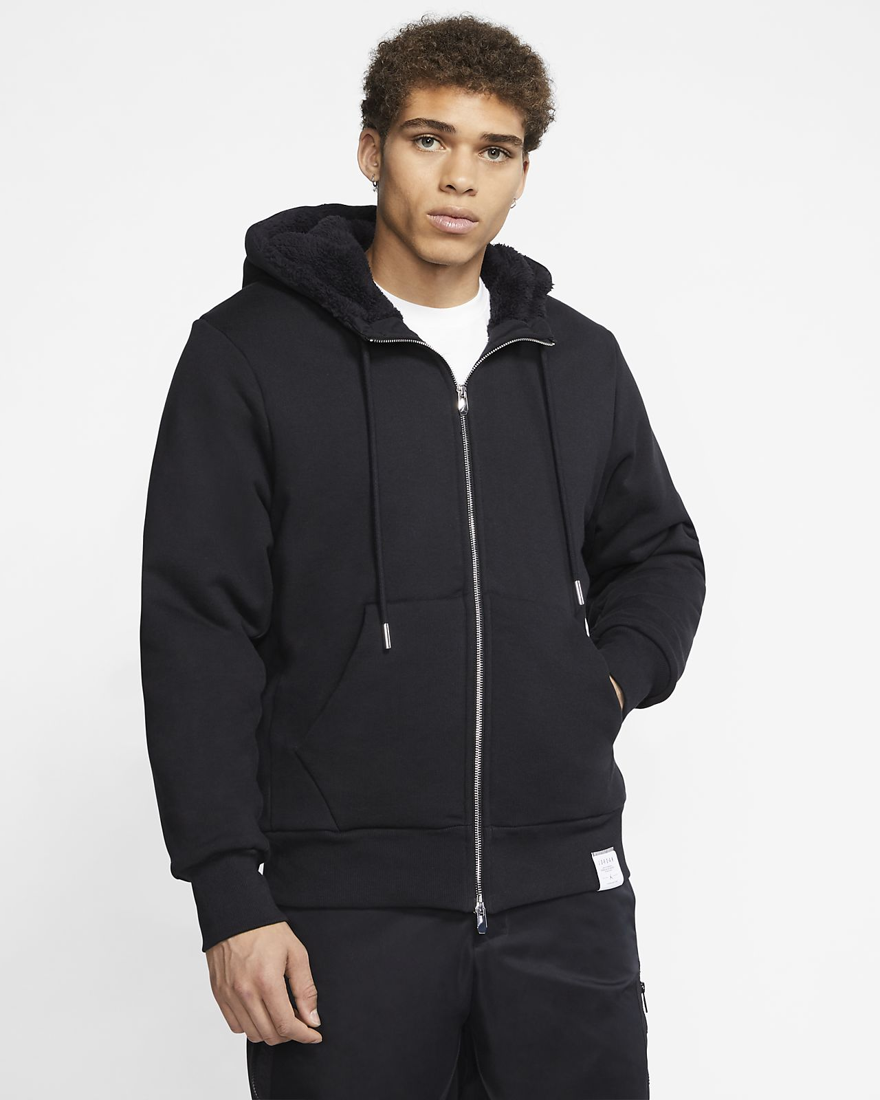 Jordan Black Cat Sherpa Full-Zip Hoodie