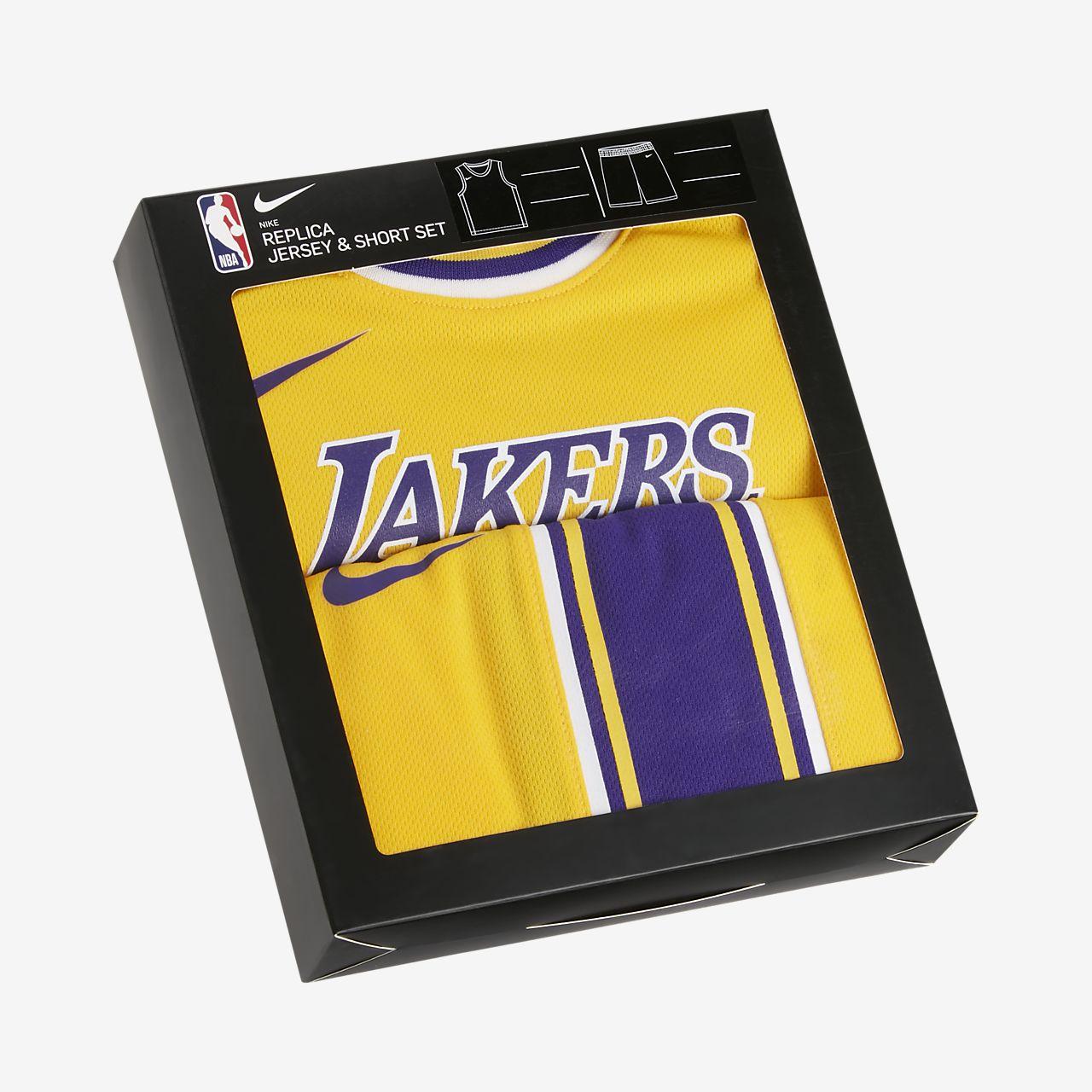 Conjunto de camisola e calções NBA Nike Lakers Replica para bebé