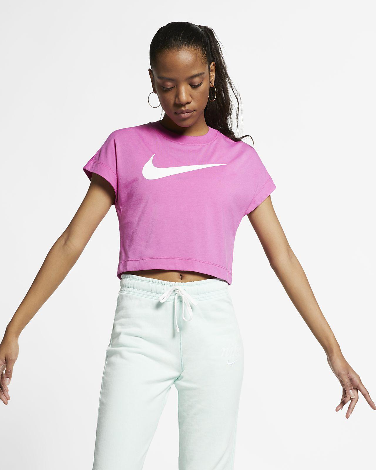 Kortärmad kort tröja Nike Sportswear Swoosh för kvinnor