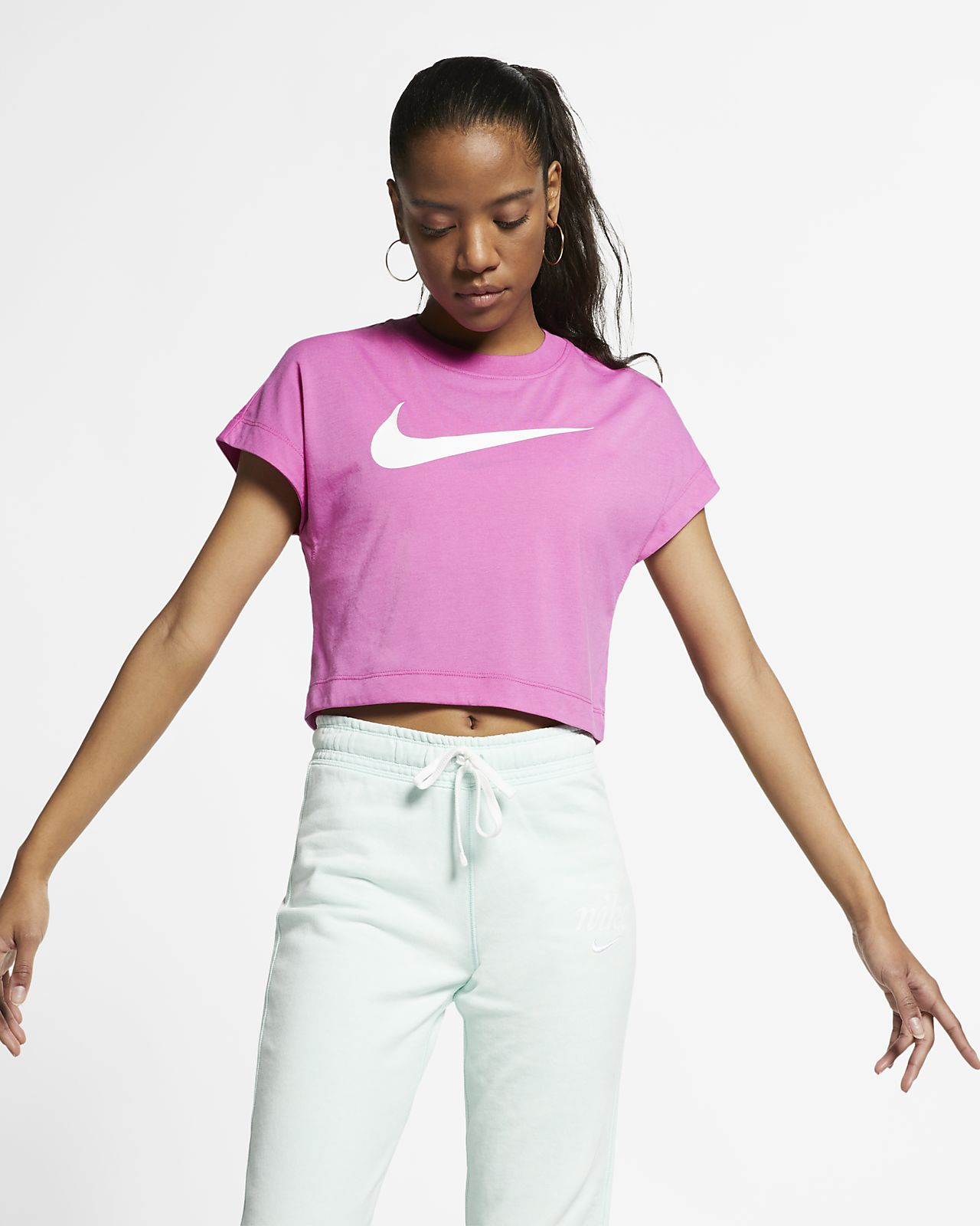 c808c4432987a Nike Sportswear kurzärmliges Crop Top mit Swoosh für Damen. Nike.com DE