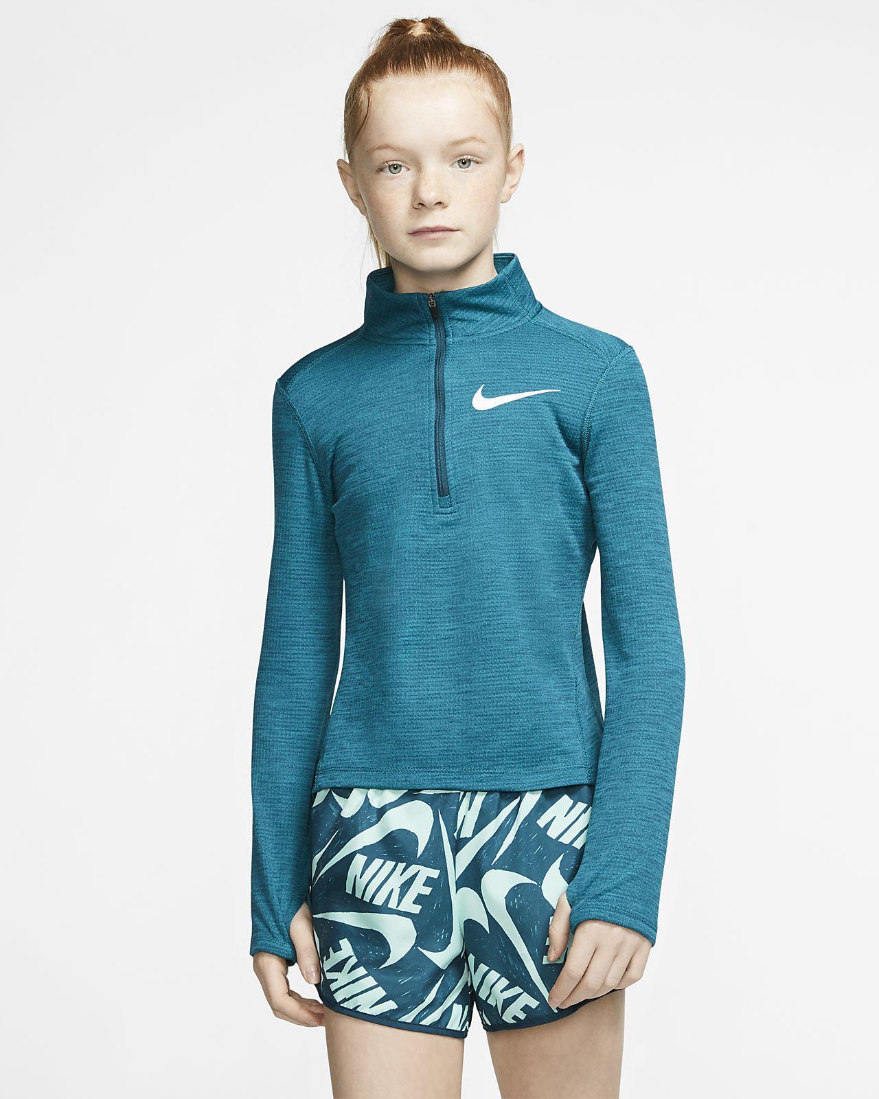 Nike langermet løpeoverdel med glidelås i halv lengde til store barn (jente)