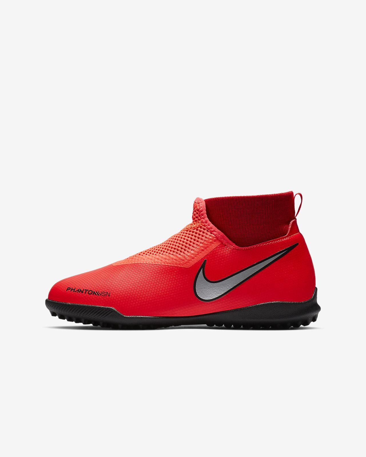 รองเท้าฟุตบอลเด็กเล็ก/โตสำหรับพื้นสนามหญ้าเทียม Nike Jr. Phantom Vision Academy Dynamic Fit