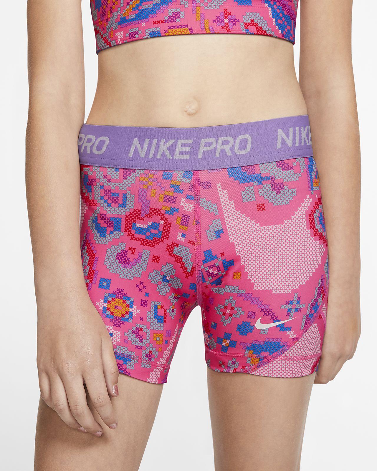 Shorts Nike Pro med tryck för ungdom (tjejer)