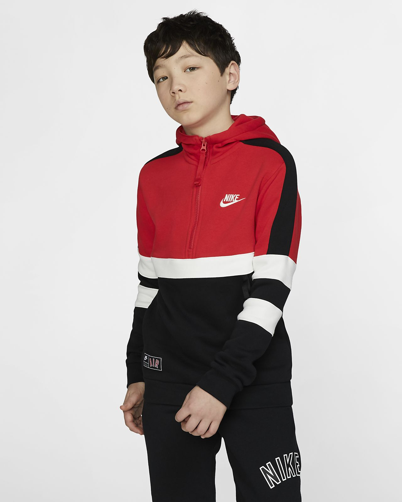Sudadera con capucha de medio cierre para niños talla grande Nike Sportswear