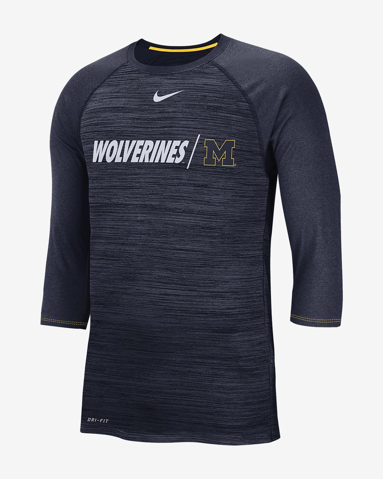 8a7d69fe2c6a19 Nike College Dri-FIT Legend (Michigan) Men s 3 4-Sleeve Top. Nike.com