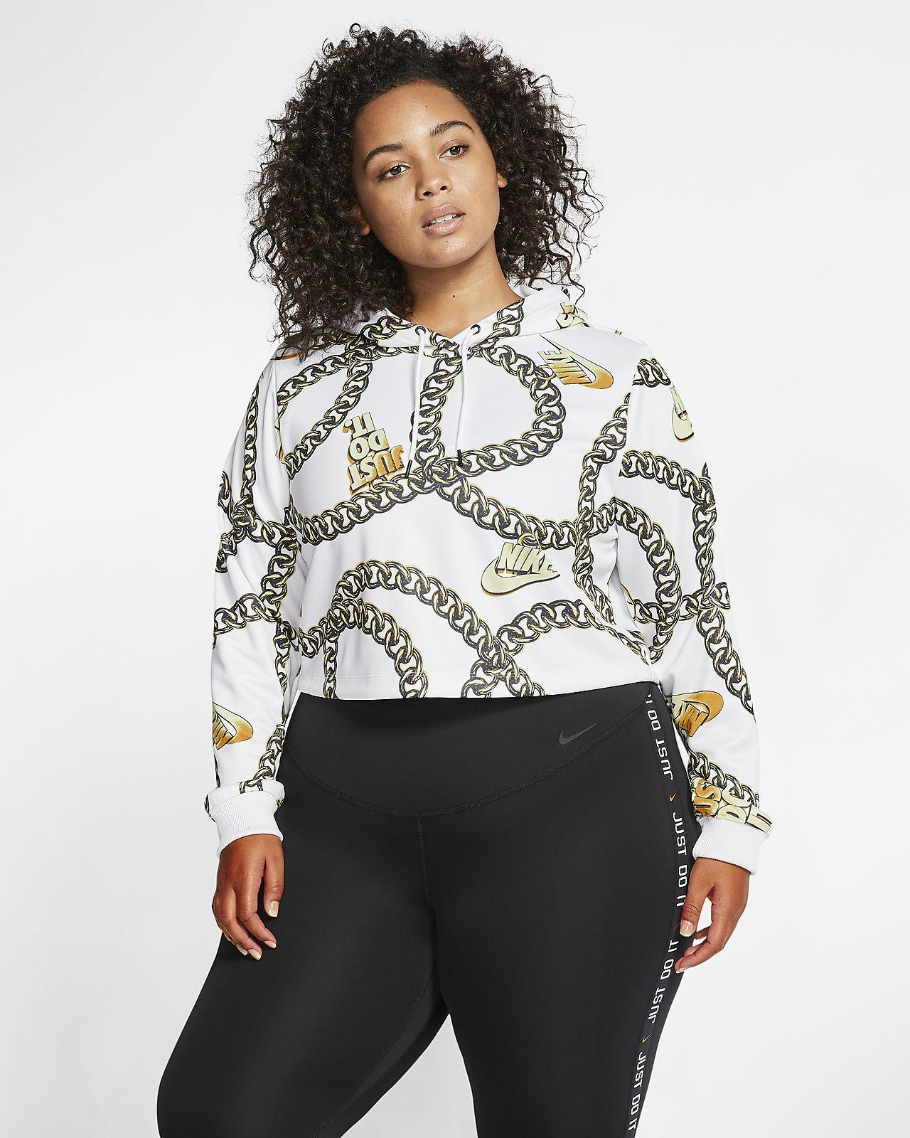 Kort Nike Sportswear Icon Clash-hættetrøje med print til kvinder (Plus Size)
