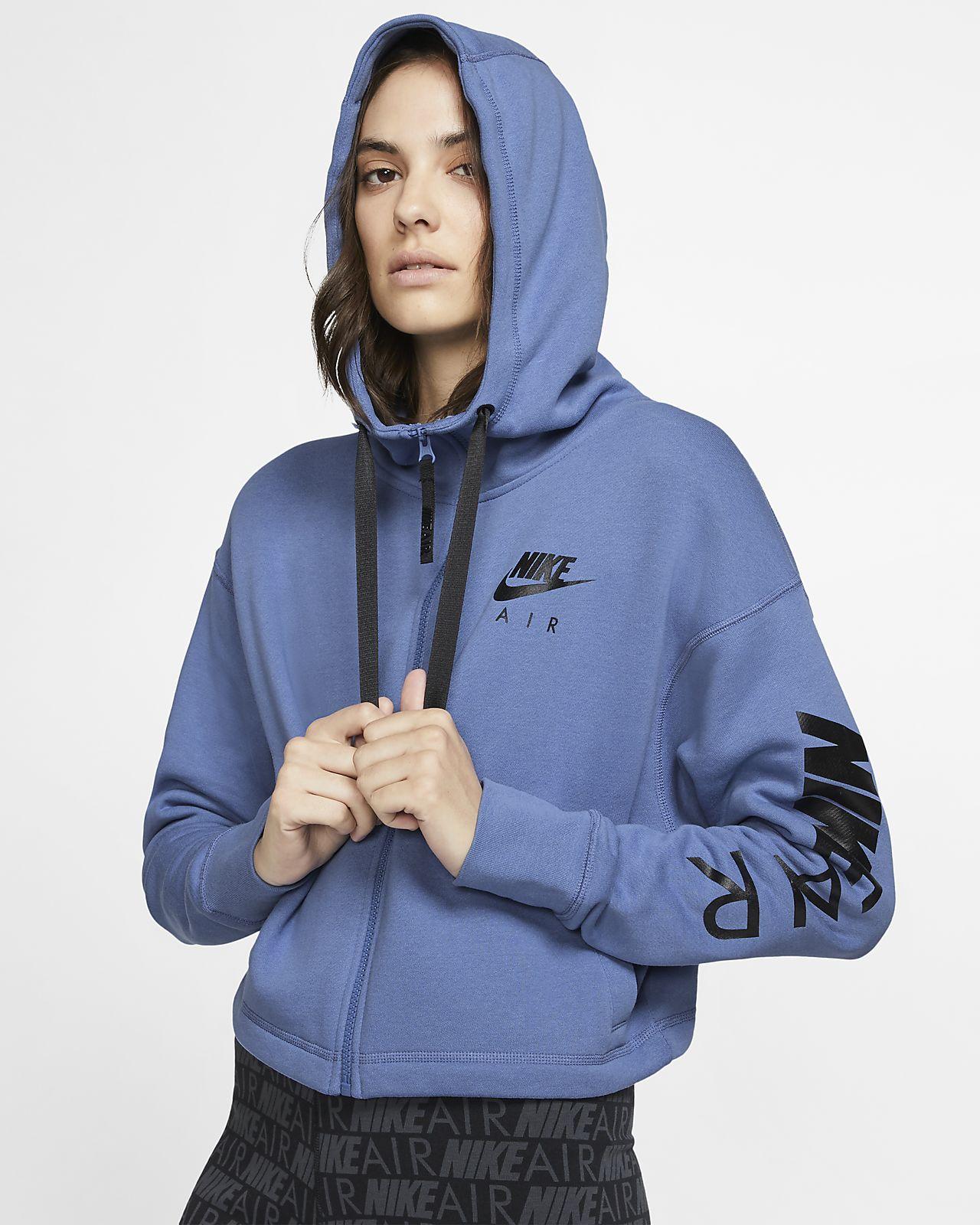 Hoodie de lã cardada com fecho completo Nike Air para mulher