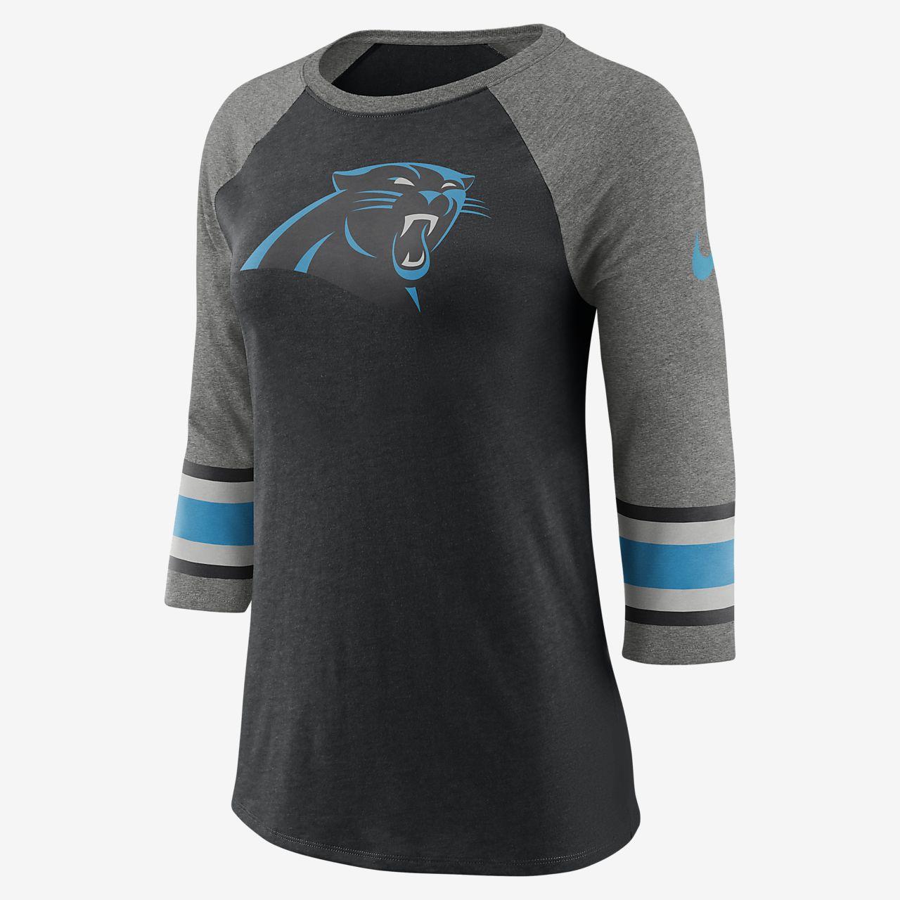 Nike Tri-Blend Raglan (NFL Panthers) T-skjorte med 3/4 ermer for dame