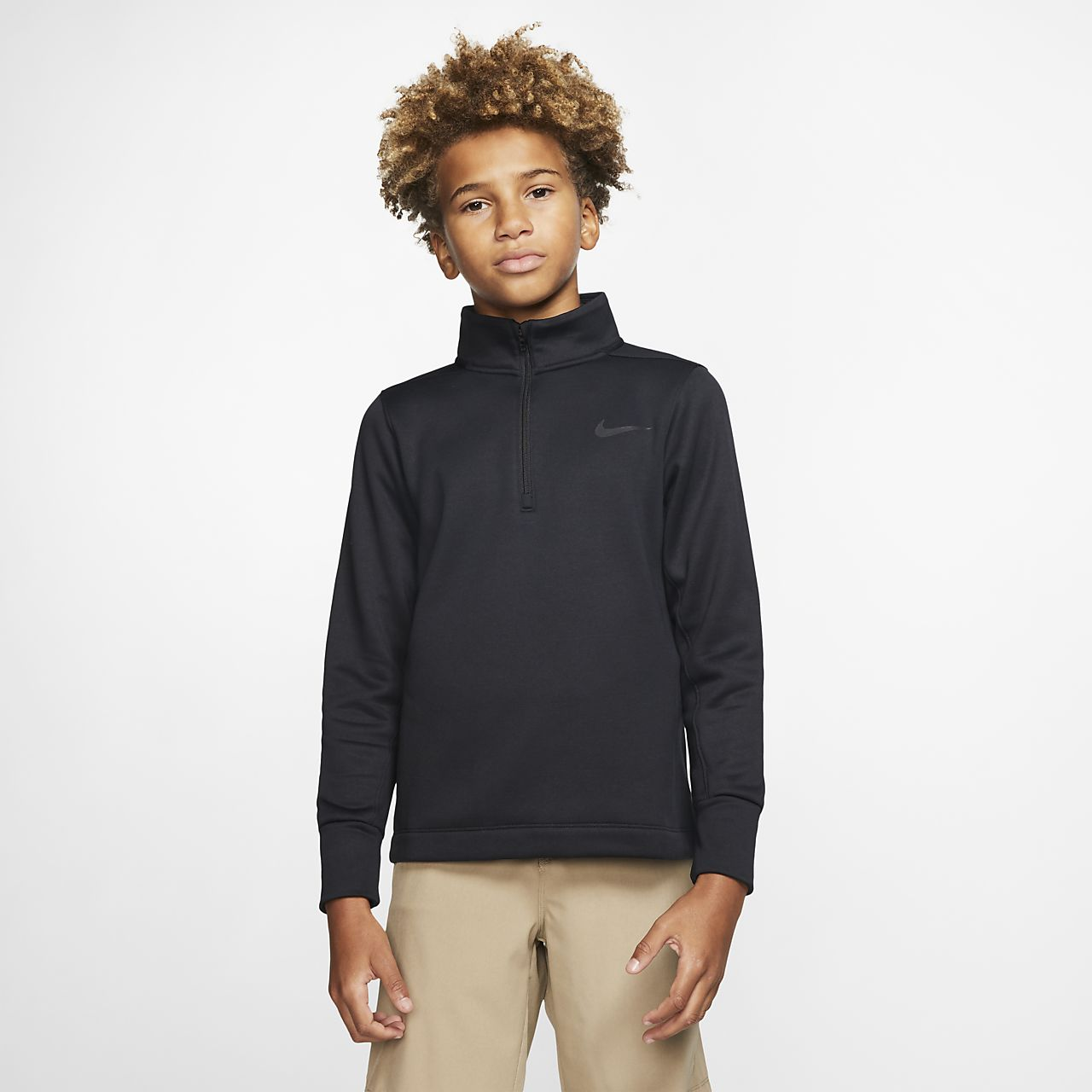 Golfové triko s polovičním zipem Nike Dri-FIT Therma pro větší děti (chlapce)