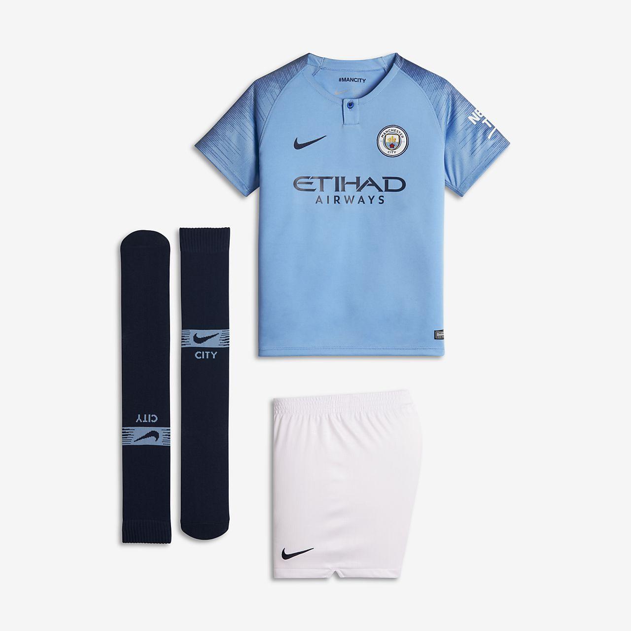Kit de fútbol para niños talla pequeña de local Stadium del Manchester City FC 2018/19