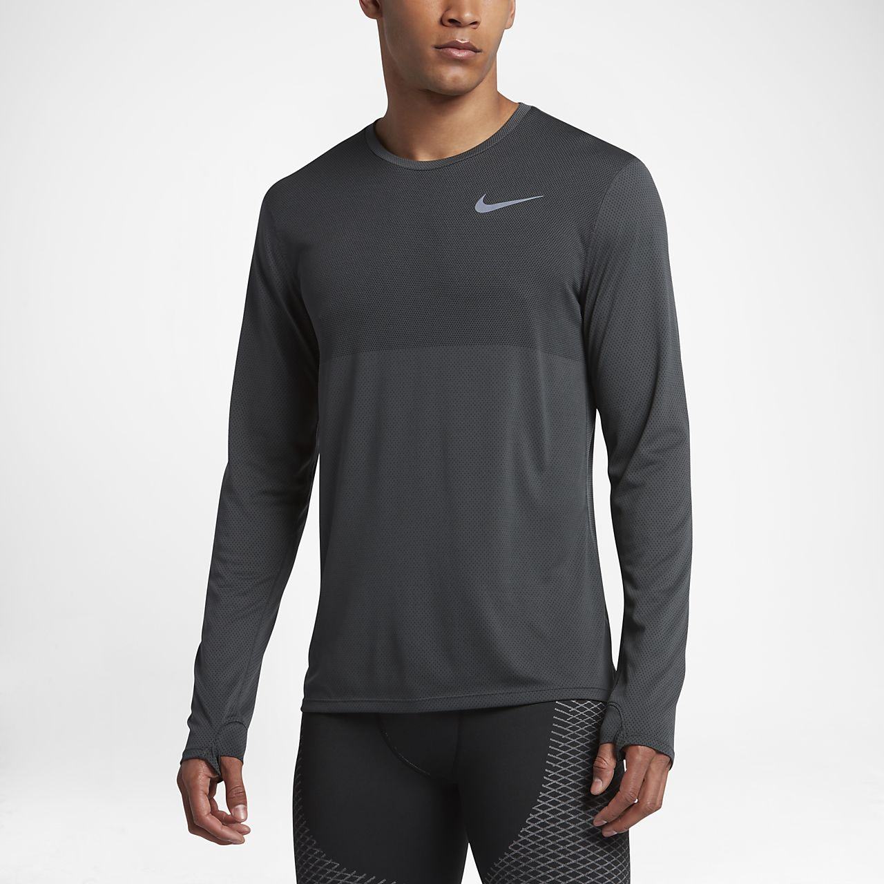 Nike Zonal Cooling Relay Men's Long Sleeve Running Top Anthracite