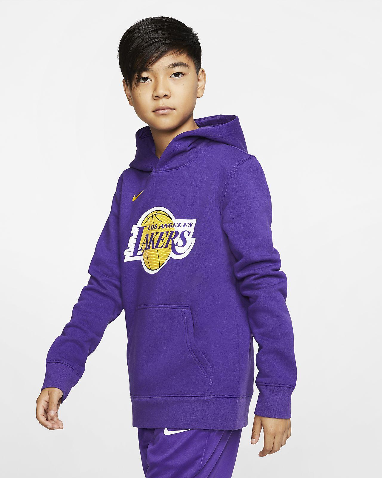 Los Angeles Lakers Logo Nike NBA-s belebújós, kapucnis pulóver nagyobb gyerekeknek