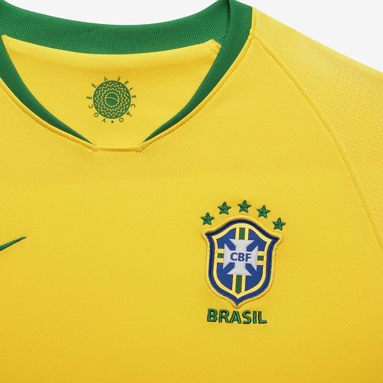 011f97da6b ... Uniforme de fútbol para niños talla pequeña 2018 Brasil CBF Stadium Home