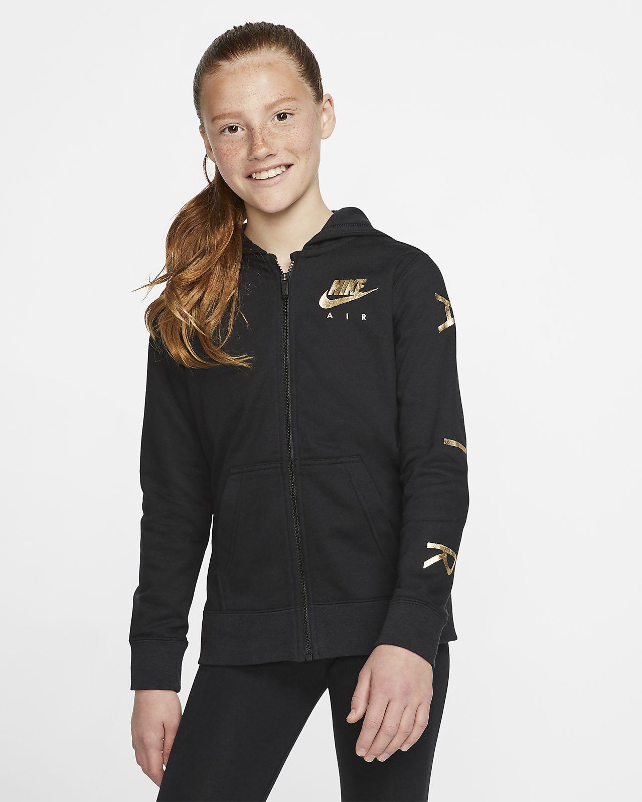 Флисовая худи с молнией во всю длину для девочек школьного возраста Nike Air