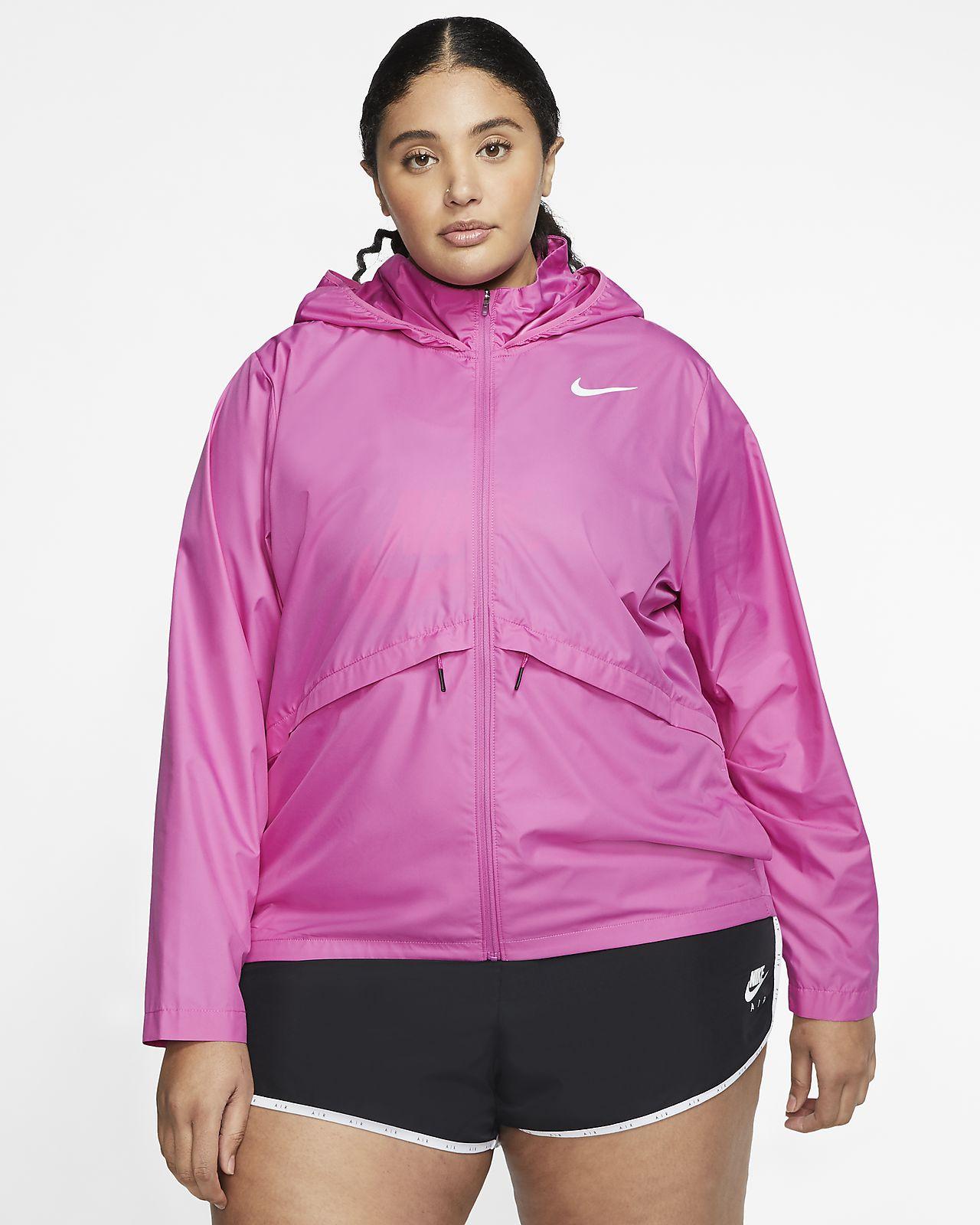 Nike Essential løpejakke med hette til dame (store størrelser)
