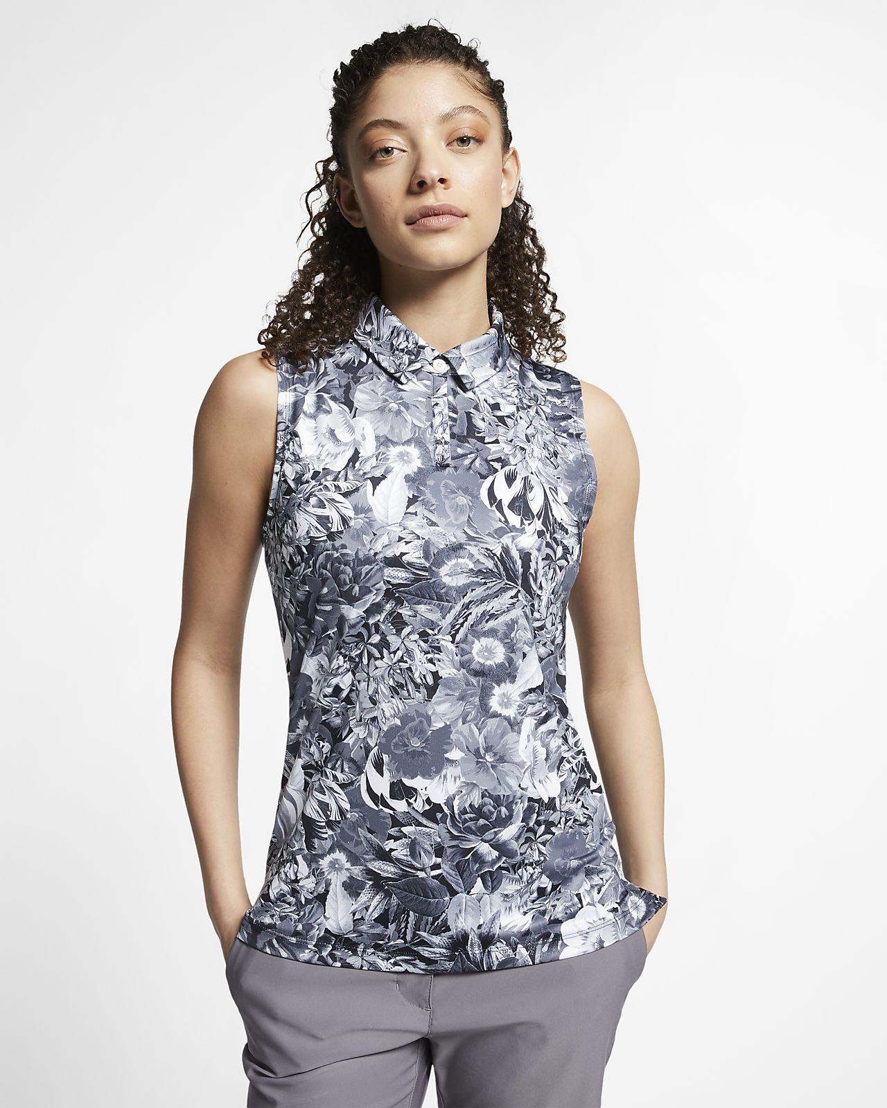 Nike Dri-FIT Printed ermeløs golfskjorte til dame