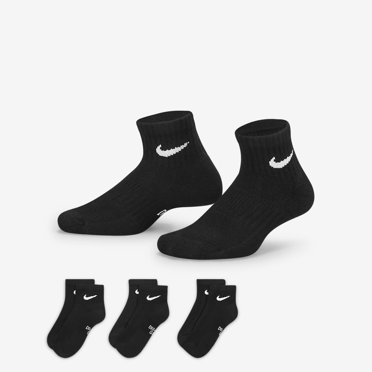 Nike Performance Cushioned Quarter Kids' Training Socks (3 Pair)