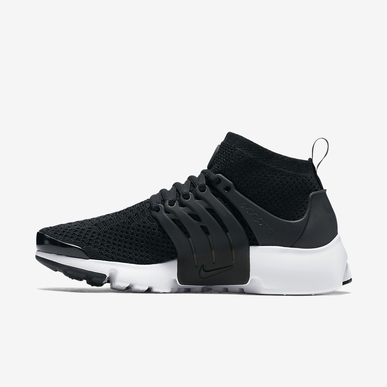 nike womens free flyknit+ shoe - black\/white\/grey air