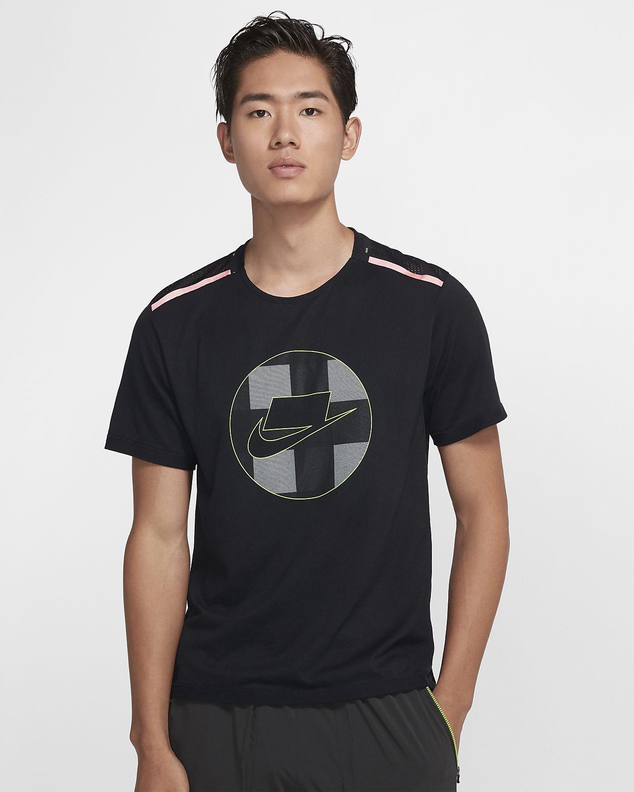 Nike 男款短袖網布跑步上衣