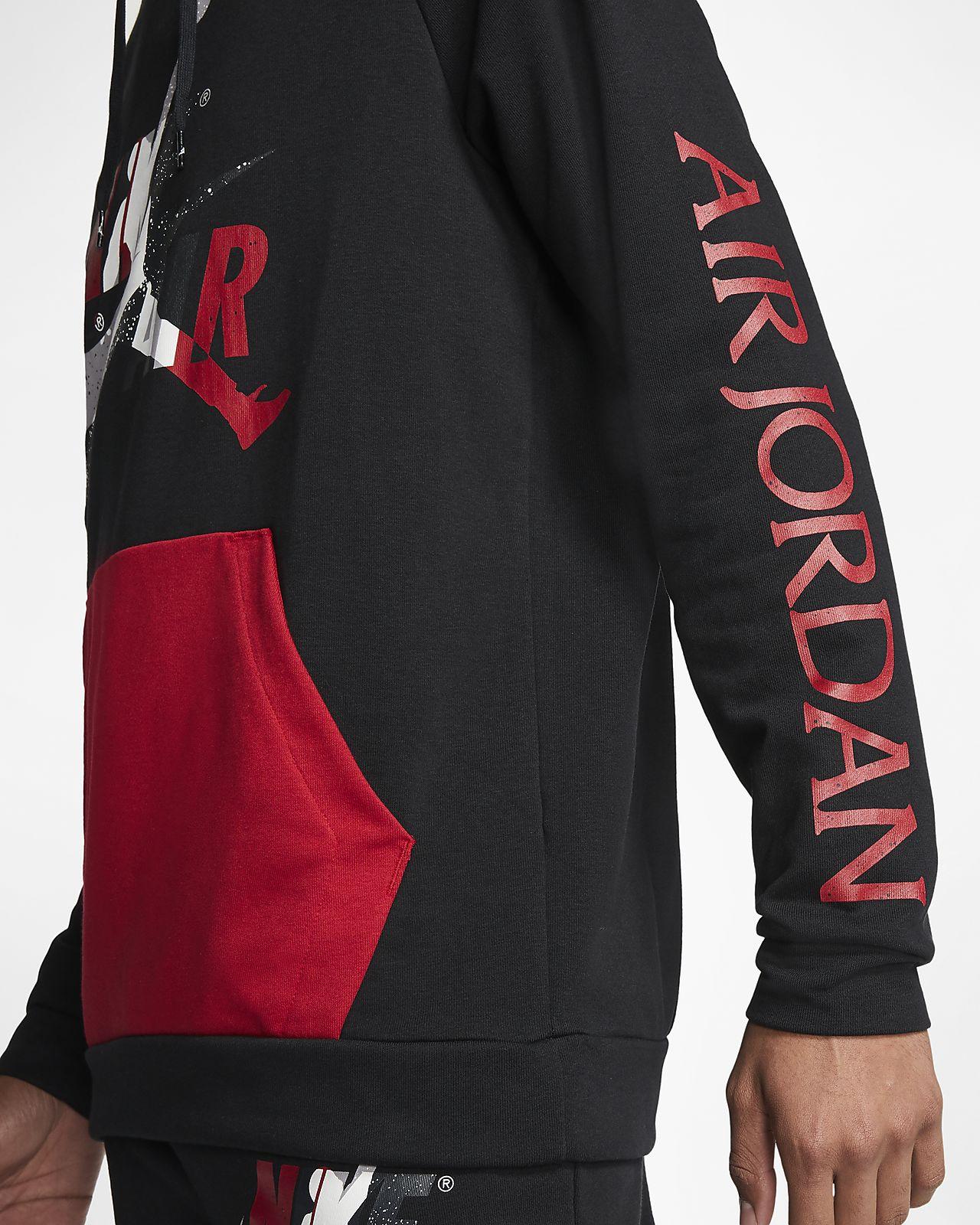 Nike felpa pullover leggera in fleece jordan jumpman classics uomo nero