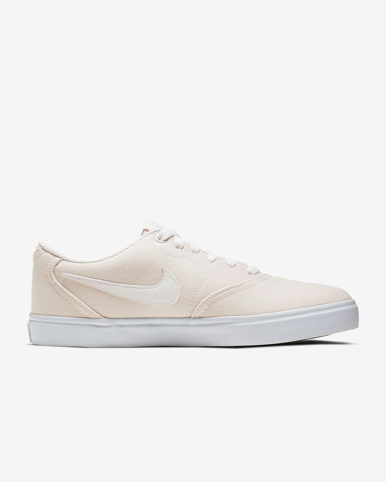 Damen Nike Sb Check Solarsoft Weiß Canvas Skate Schuhe Weiß