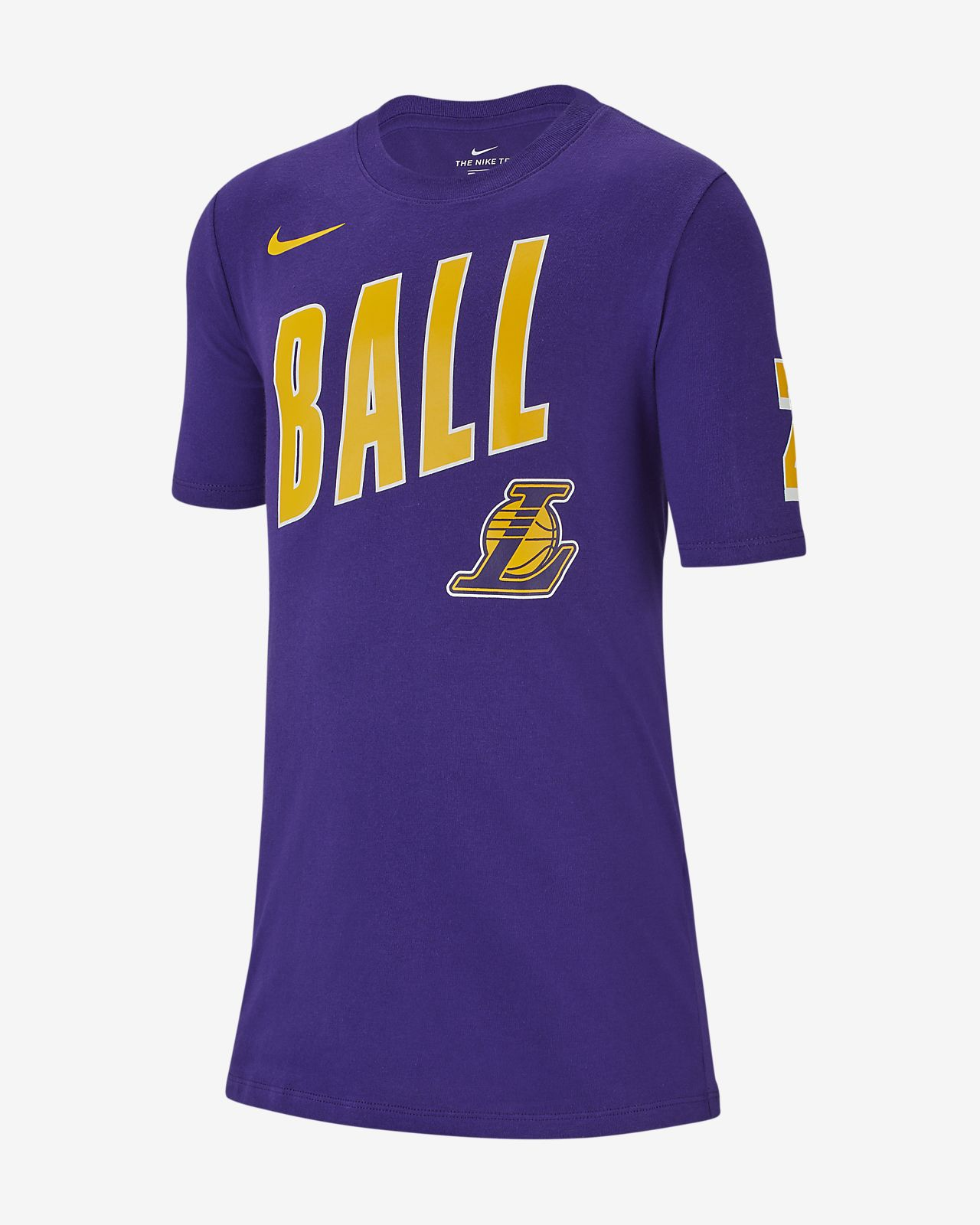Los Angeles Lakers Player (Lonzo Ball) Big Kids  NBA T-Shirt. Nike.com fc4ac9831