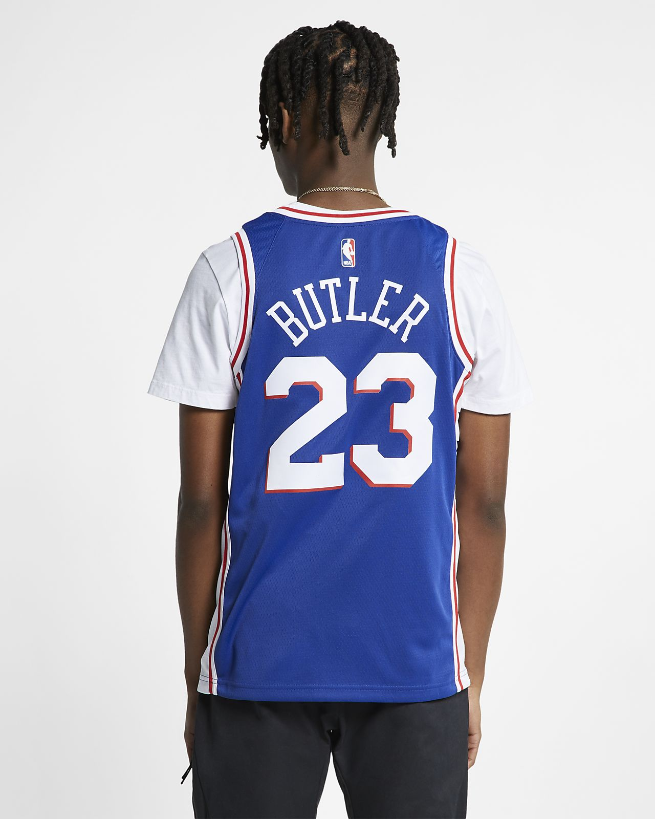 1ccaf1e1841 ... 费城76 人队(Jimmy Butler) Icon Edition Swingman Nike NBA Connected Jersey 男子