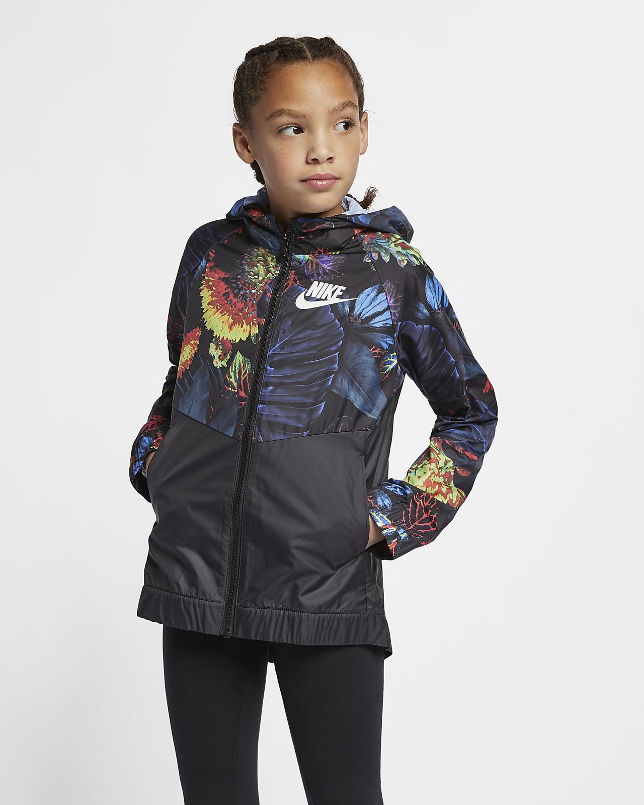 "Nike Sportswear Windrunner ""Floral"" 大童 (女童) 花卉防風外套"